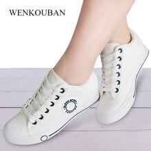 Damskie buty wulkanizowane białe płócienne trampki damskie buty na koturnie na co dzień damskie białe zasznurowane Tenis Feminino 2020