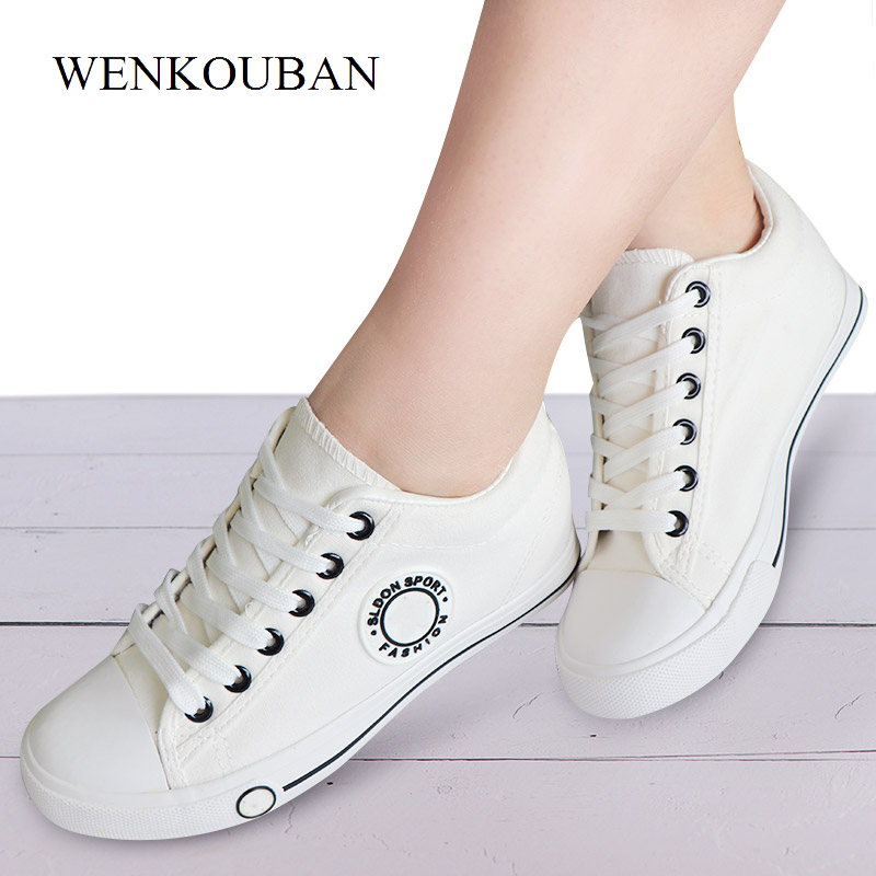 Women Vulcanize Shoes White Canvas Sneakers Women Wedge Casual Shoes Ladies White Lace Up Tenis Feminino 2020
