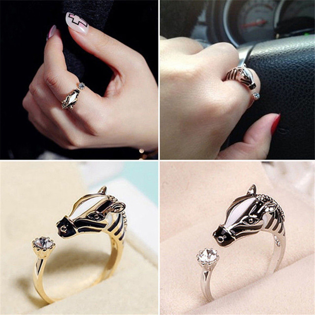 Women's Fashion Good luck Crystal Open Ring Elegant Trendy Animal Horse Head Ring For Women Fashion Jewelry 1PCS 3