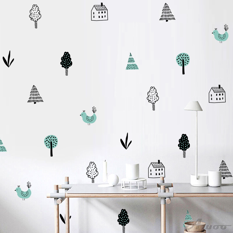 YQT049 Nordic style tree forest Wall Stickers Wallpaper Furniture Cabinets Decal Kids Room DIY Decoration Home Decoration