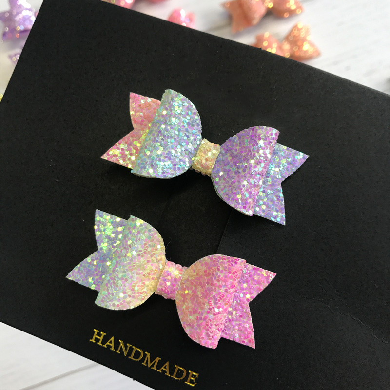 2pcs Handmade Mini Sequins Litlle Girls Hair Bows Clips Shiny Glitter Cute Hairpins Daily School Barrettes   Headwear   Accessoires