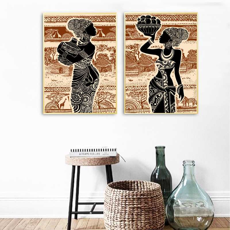 Beautiful African Girl Print Vintage Poster Wall Art Canvas Painting Africa Landscape Wall Pictures for Living Room Home Decor