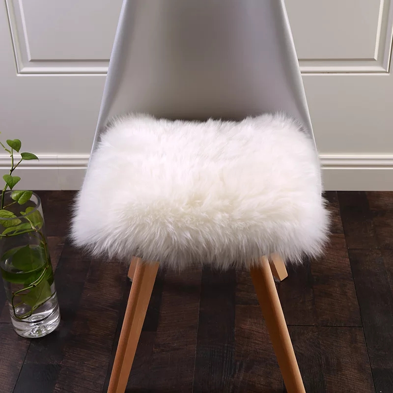 Selected New Zealand long hair genuine sheepskin rug 40*40cm sheep fur chair pad sofa mat for home decor skin seat cushion