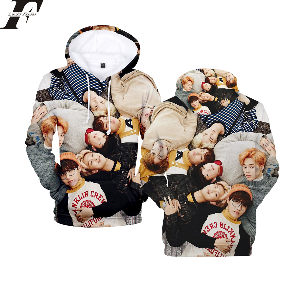 LUCKYFRIDAYF 2018 BTS New 3D Hoodies Sweatshirt Women/Men Hoodies New Fashion Men Hoodies Casual Coats Clothes Plus Size 4XL