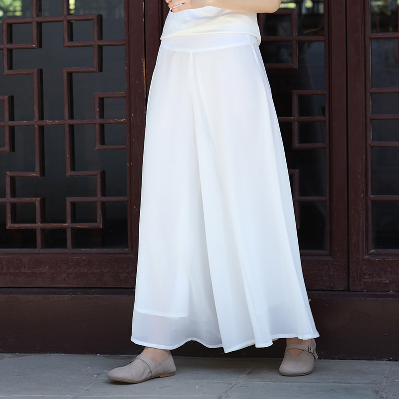 Spring Embroidered Double Layer   Wide     Leg     Pants   Chiffon Cotton Thin All-match High Waist Trousers