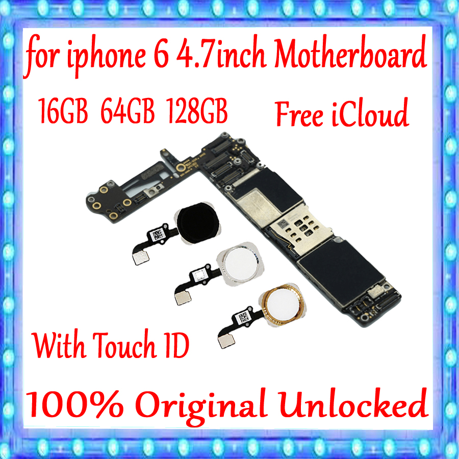 100 Original unlocked for iPhone 6 4 7inch Motherboard With Touch ID Without Touch ID for