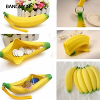 Men Women Girls Cute Lovely Silicone Banana Coin Purses Zero Money Pencil Pen Case Bag Wallet
