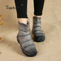 Tastabo Fashion Martin   Boots   Genuine Leather Ankle Shoes Vintage Casual Shoes Brand Design Retro Handmade Women's   Boots   Lady