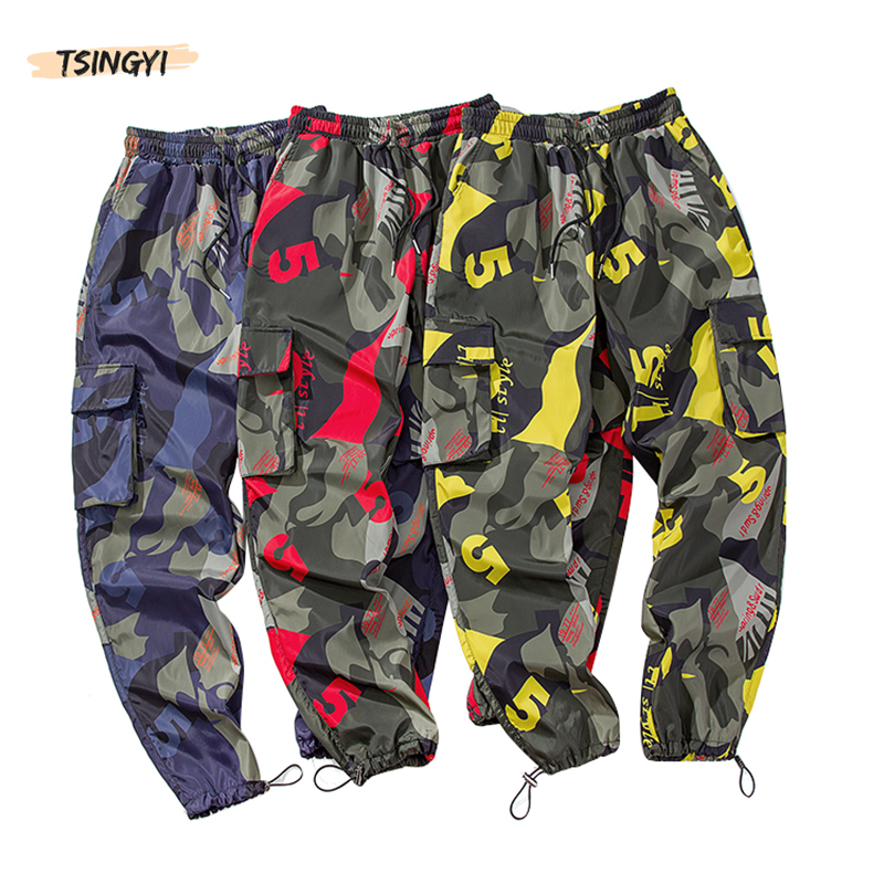 Tsingyi Summer Cargo Pants Men Camouflage Hip Hop Ankle-Length Pattern Joggers Lightweight Red Blue Yellow Camo Pencil Pants