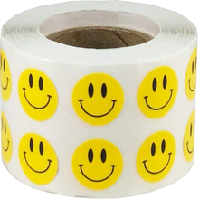 Smart Sticker Yellow Smiley Face Happy Stickers 2 Inch Round Circle Teacher Labels 500 Total