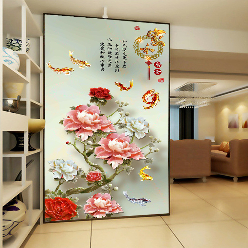 3d Hd Delicate Blossoming Rosy Flowers Photo With A Poem Wallpaper Silk Cloth For Porch Corridor Screen Wall Decor