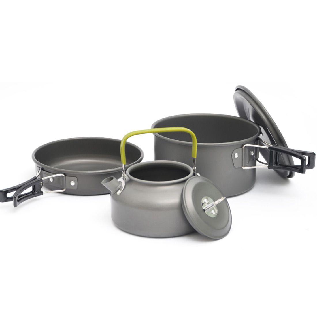 3pcs/Set Portable Camping Pot Pan Kettle Set Aluminum Alloy Outdoor Tableware Cookware Teapot Cooking Tool for Picnic BBQ цены