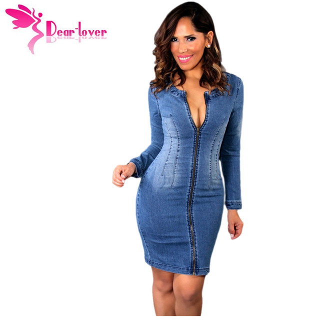132abdf35fc DearLover New Arrival 2016 Fashion Women Jeans Sexy Zip Long Sleeved Cutout  Back Denim Bodycon Dress