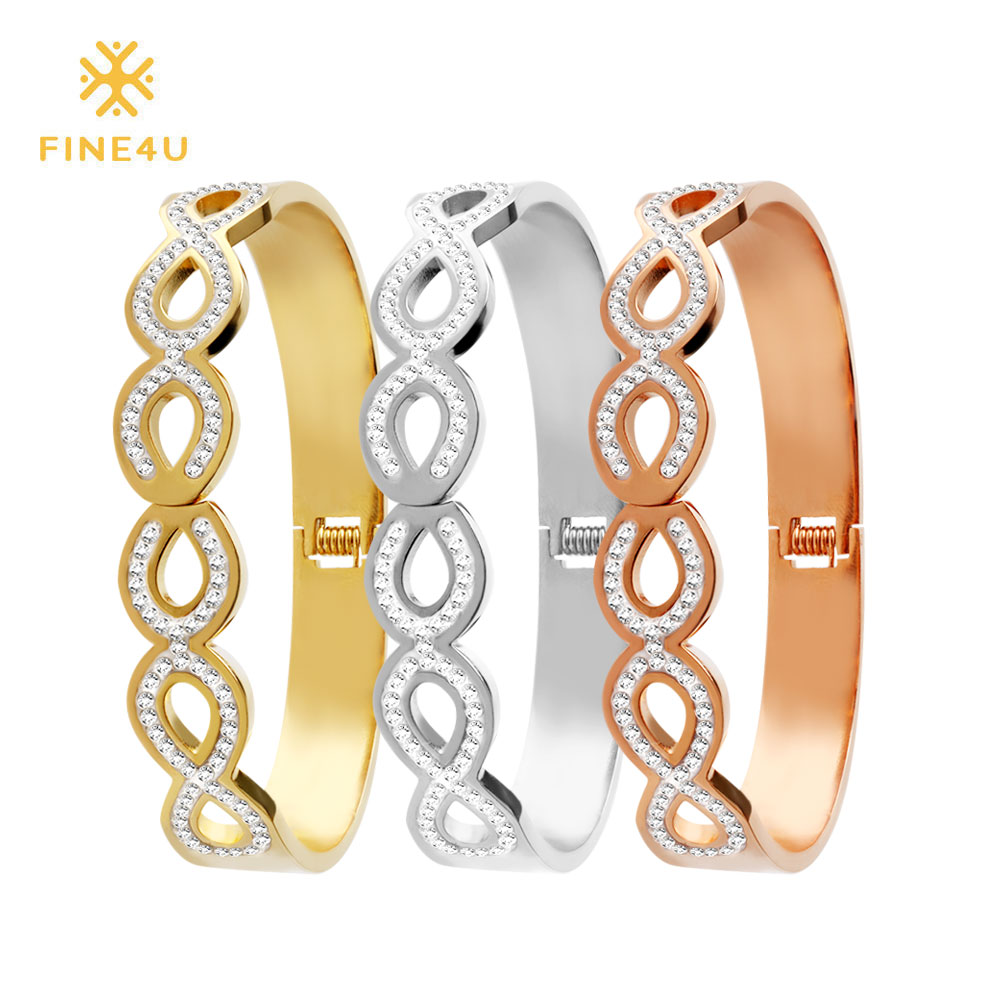 Generous Fine4u B102 Luxury Lover Jewelry Cuff Bracelet For Women 316l Stainless Steel Infinity Bracelets & Bangles Bridal Pulseras Bracelets & Bangles