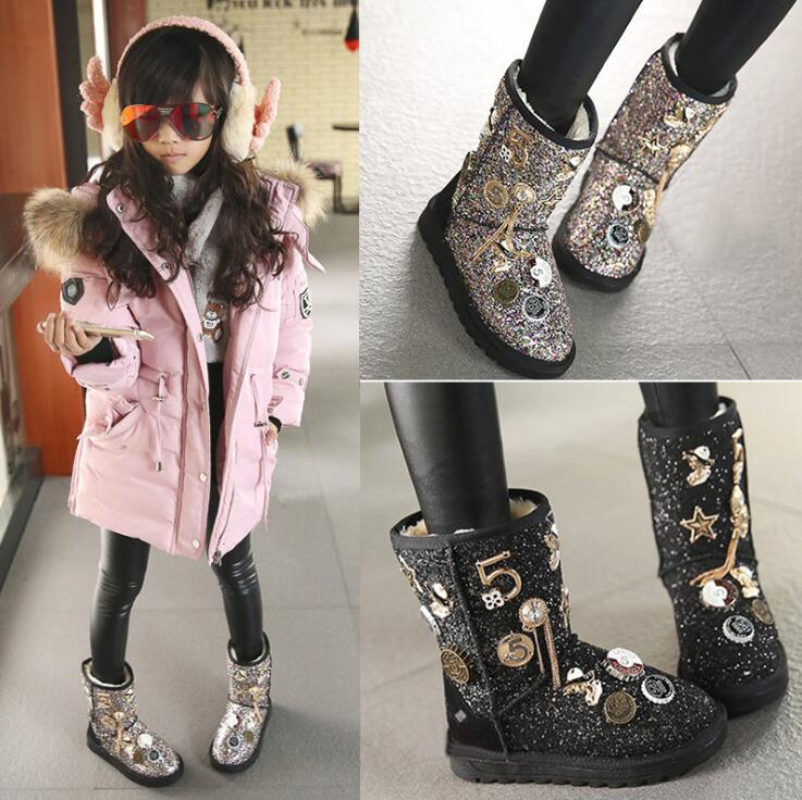 Image 2 - Size 26 37 Fashion Metal Decoration Children Winter Boots Thick Warm Fur Kids Snow Boots Girls Shiny Sequined Boots-in Boots from Mother & Kids