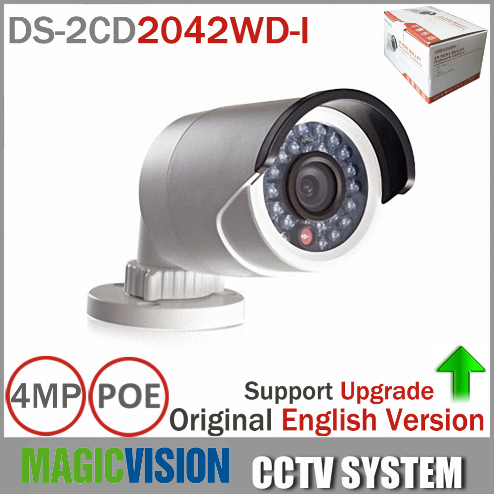 Original DS-2CD2042WD-I Full HD 4MP High resolution 120db WDR POE IR IP Bullet Network CCTV Camera English Version hikvision 4mp ip camera ds 2cd1641fwd i 4mp vari focal network camera hd 1080p real time video ir bullet poe cctv camera