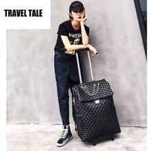 Travel tale 20 дюймов Для женщин ручной клади Ретро кабина кожаный чемодан дорожная сумка на колесах