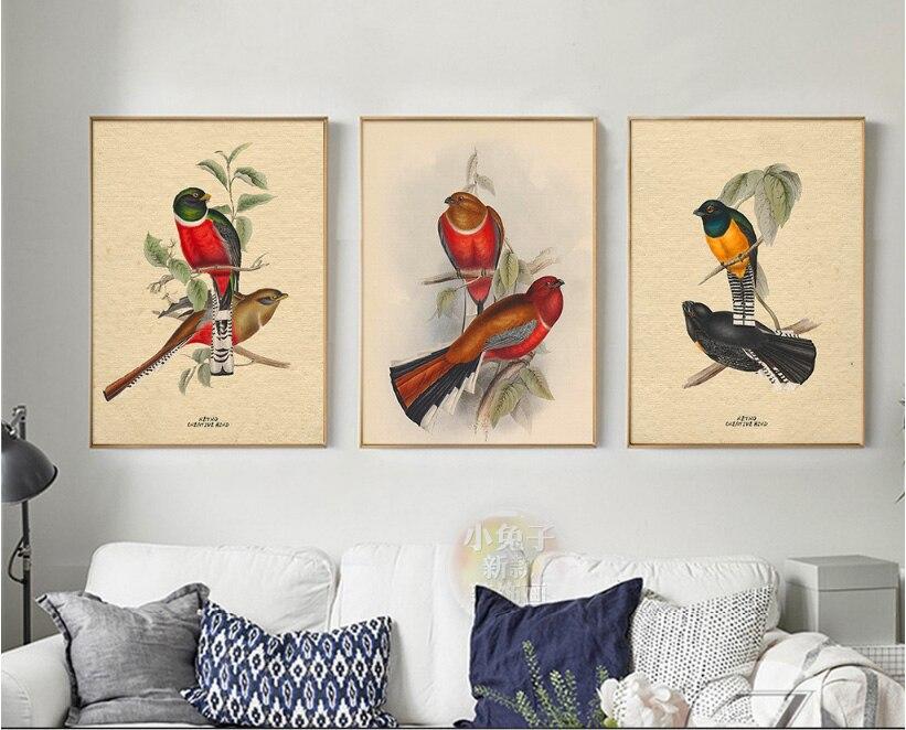 Chinese retro stijl liefde vogels en bloemen spuiten schilderijen geschilderd op canvas decoratieve schilderijen muur foto 3 stuks