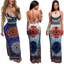 1cc7b28313 2017 Summer Boho Backless long Maxi Dress European Style Print Sexy Club  Sleeveless Tank Dresses Long