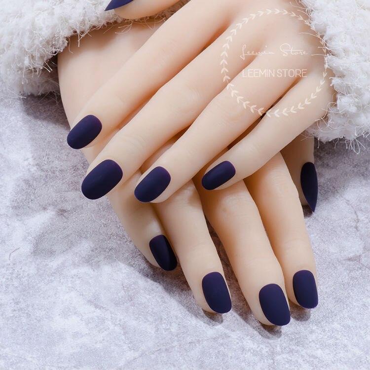 matte nails, fake nails dark purple false nails,-in False Nails from ...