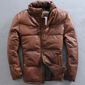 Axirex fly real natural soft sheepskin white duck down jacket men brown stand collar short winter genuine leather jacket men new