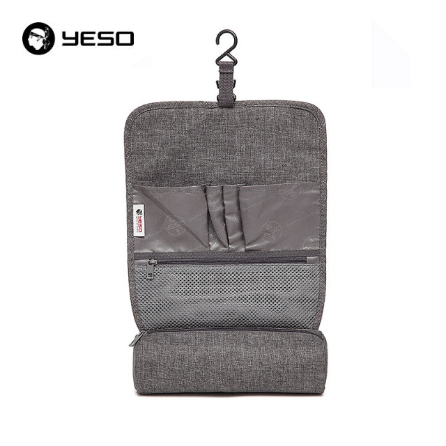 YESO Brand New Arrival Wash Bag Travel Pouch Waterproof Hanging Portable Bag 26.5*9*9 Gray Polyester Wash Bags Makeup Bag