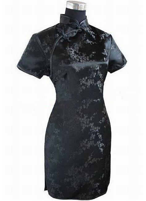 Negro Chino Tradicional Vestido de Mujer Vestido de Las Mujeres del Satén Qipao