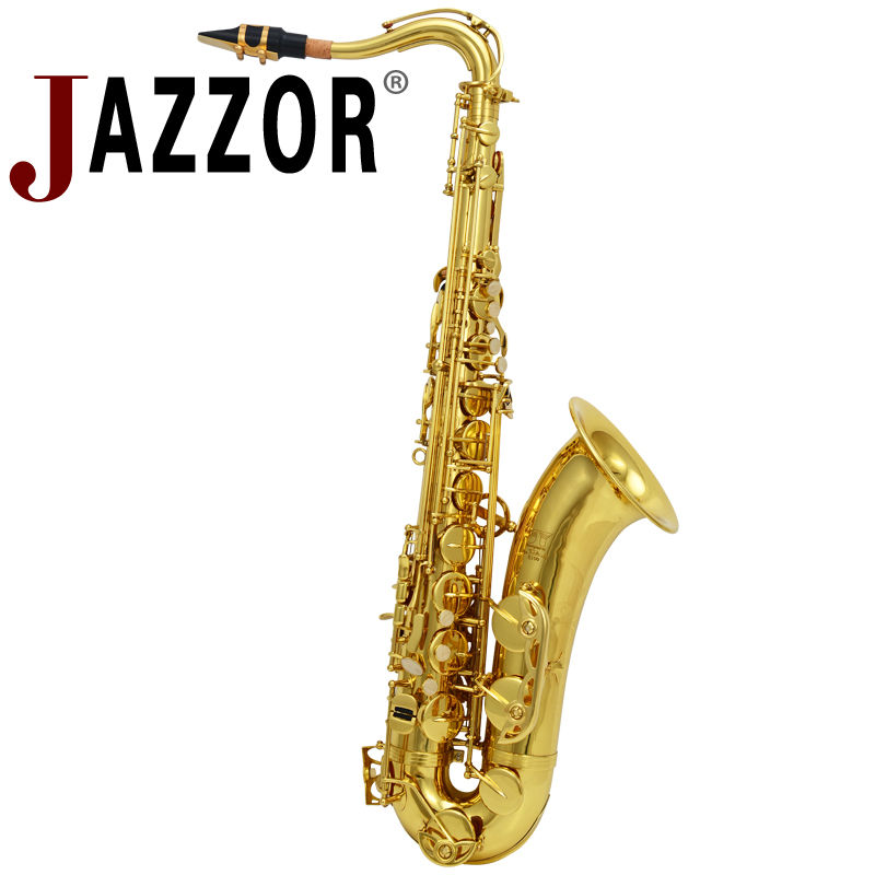 JAZZOR JYTS-E100G professional Bb flat Tenor saxophone gold lacquer brass wind instruments free shipping jazzor professional cornet jzht 300 b flat gold lacquer bb trumpet corneta with hard case brass musical instrument