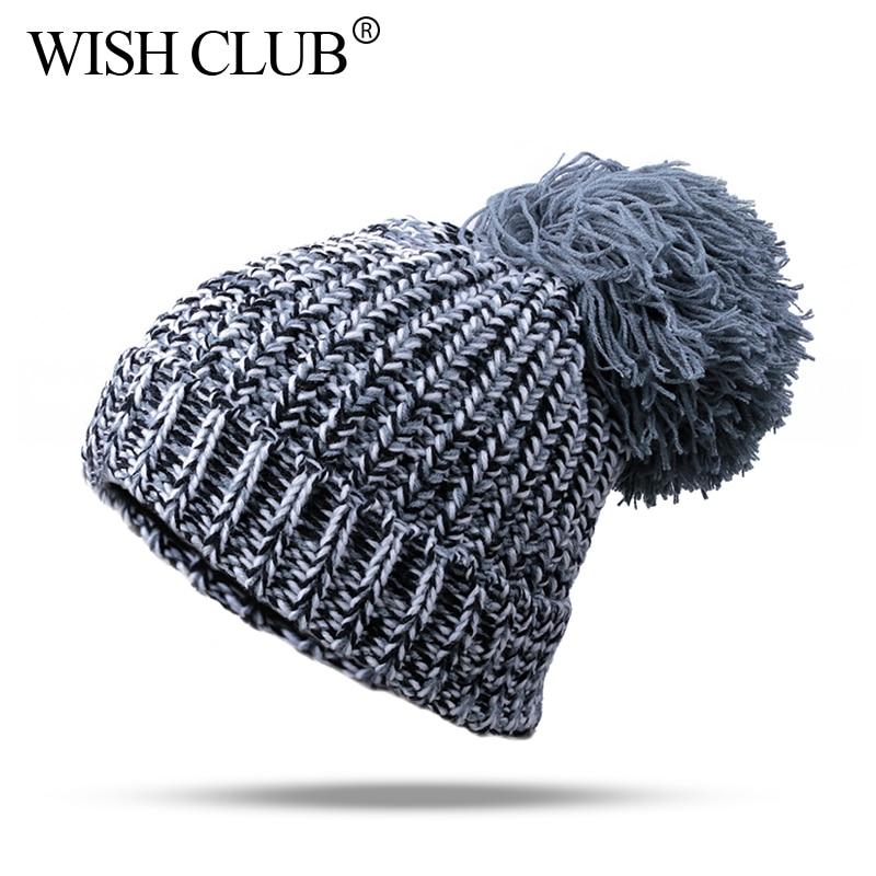 New Female Cap Winter Hat For Women Skullies Beanies Warm Knitted Hat Winter Ball Cap Pom Poms Thick Hats For Women Girl 's Hat skullies