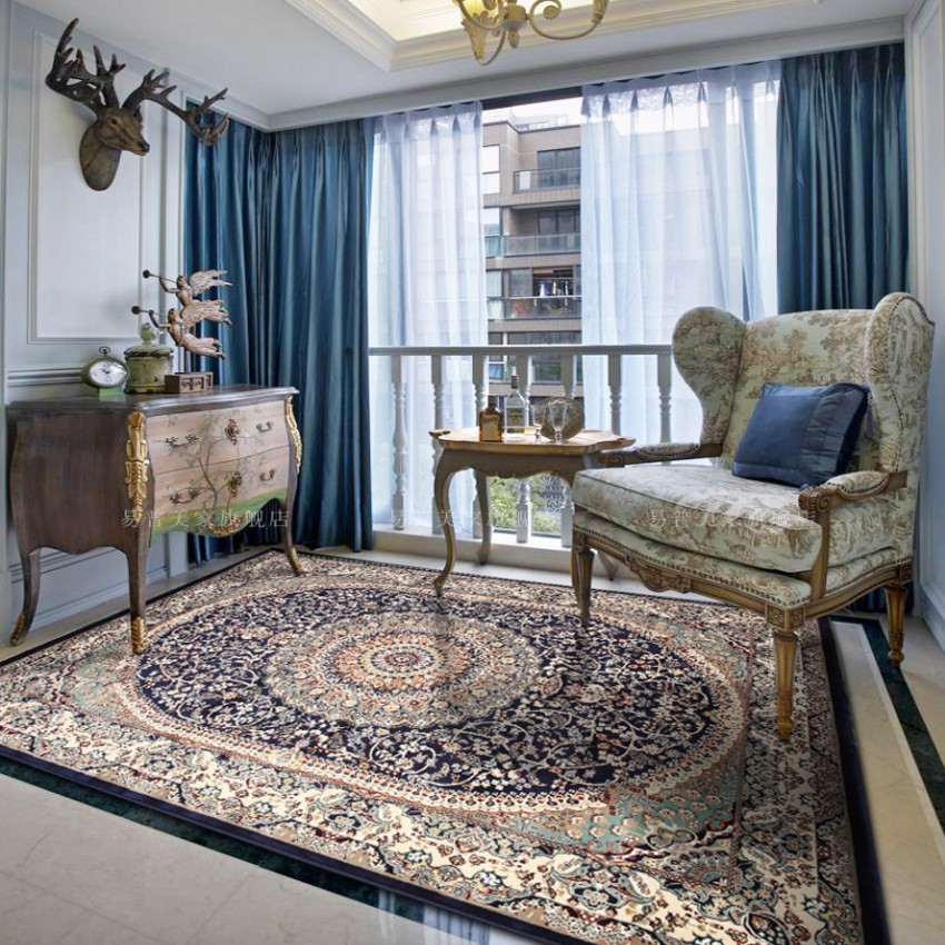Big size persian style carpet living room coffee table carpet rectangle ground mat classical - Salon ethnique chic ...