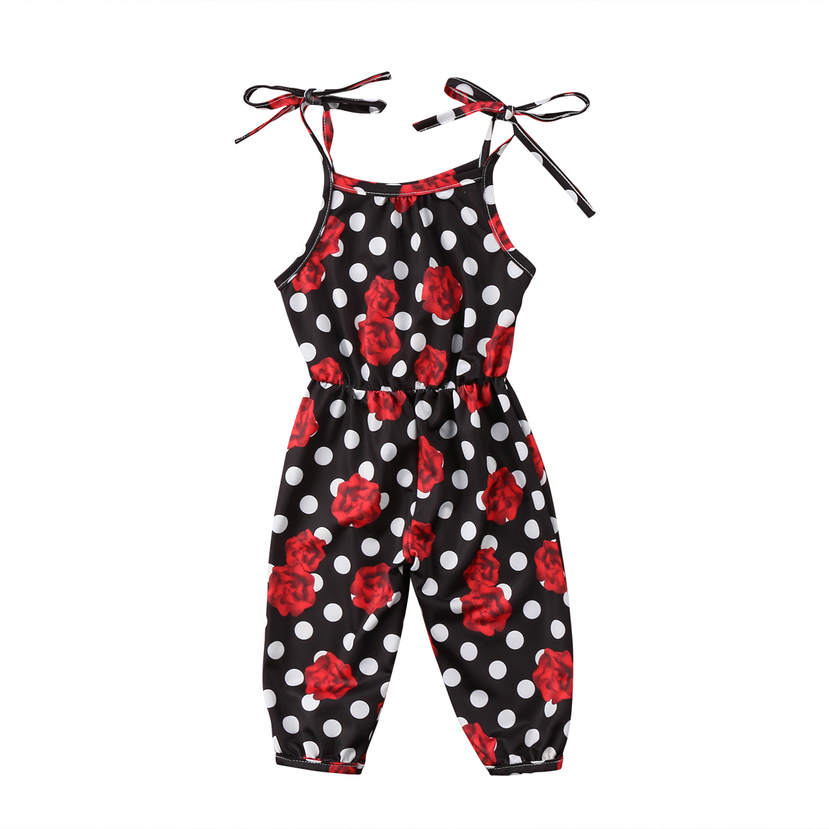 Infant Toddler Rompers Baby Girls Strap Jumpsuit Rompers Rose Floral Tie Summer Clothes Floral Romper Sunsuit