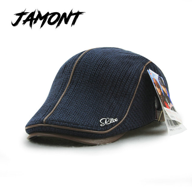 be1b91ffdef80  JAMONT  Autumn Winter Crochet Beret Buckle Hat For Men Women Military  Visors Thicken Leisure Wool Warmer Knitted Cap Casquette