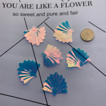 100pcs?35g?35mm large fan-shaped sequins merman bead head ornaments handicraft hairpin DIY accessories