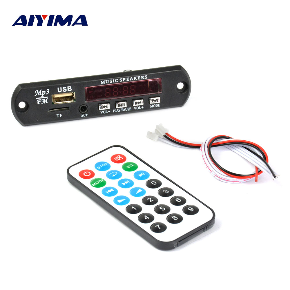 Aiyima DC12V/5 V MP3 decodificador Bluetooth 4,2 de decodificación de Audio APE FLAC MP3 WMA WAV TF de sonido USB Aux micrófono Módulo de bricolaje