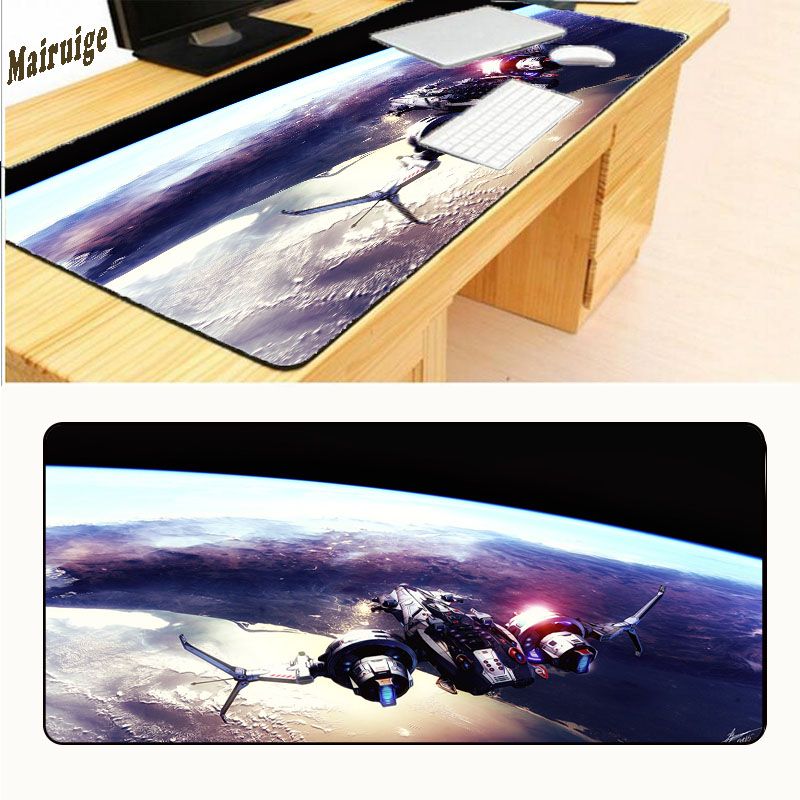 Mairuige Star War Airship Free Shipping Large Black OverLock Laptop Gaming Rubber Mouse Pad Table Mat Cup Mats 900 * 400 * 3 Mm