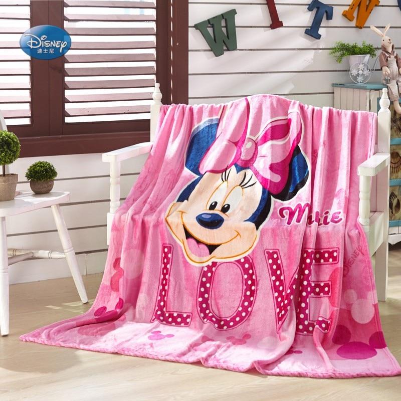 Disney Cartoon Pink Minnie Mouse Printed Flannel Bed Blanket Queen Size 200*230CM Girls Bedroom Decor Bedsheet