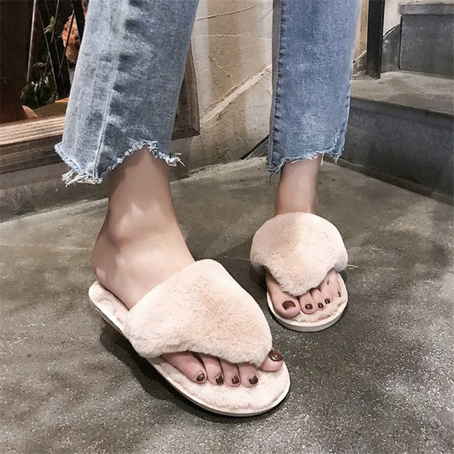 f0c12a49e61f33 COOTELILI Fashion Women Home Slippers Faux Fur Warm Shoes Woman Slip on Flats  Female Winter Flip Flops Pink Plus Size 36-41