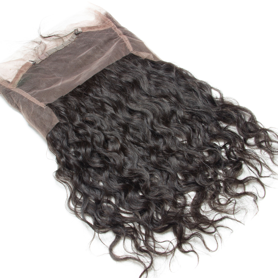 ALIBELE HAIR Brazilian Water Wave 360 Lace Frontal Closure Remy Human Hair Pre Plucked Lace Frontal