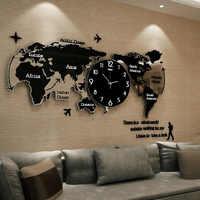 Mapa del mundo Reloj de pared grande, moderno diseño 3D pegatinas colgante reloj brillan en la oscuridad de reloj hogar Relojes de pared silenciosos
