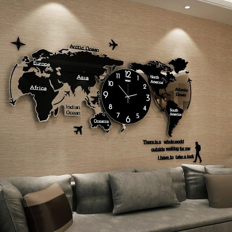 World Map Wall Clock Large Modern Design 3D Stickers Hanging Clock Glowing In Dark Decorative Watch Home Silent Wall Clocks