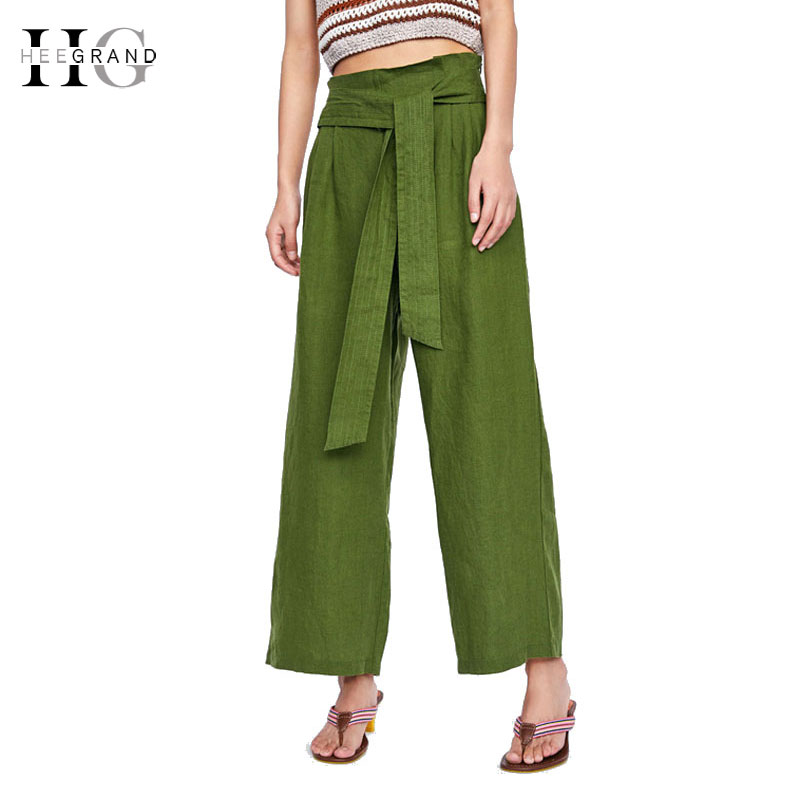 HEE GRAND Womens   Wide     Leg     Pants   Green   Pants   2018 Soft Lace-up Ankle-length   Pants   High Waist Loose Women Trousers Dropship WKX453