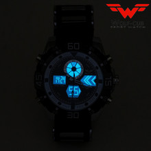 Sport Watch Brand Auto Date Day LED Alarm Black Blue Silicone Band Analog Quartz Military Men Digital Watches WOLF-CUB 6 color