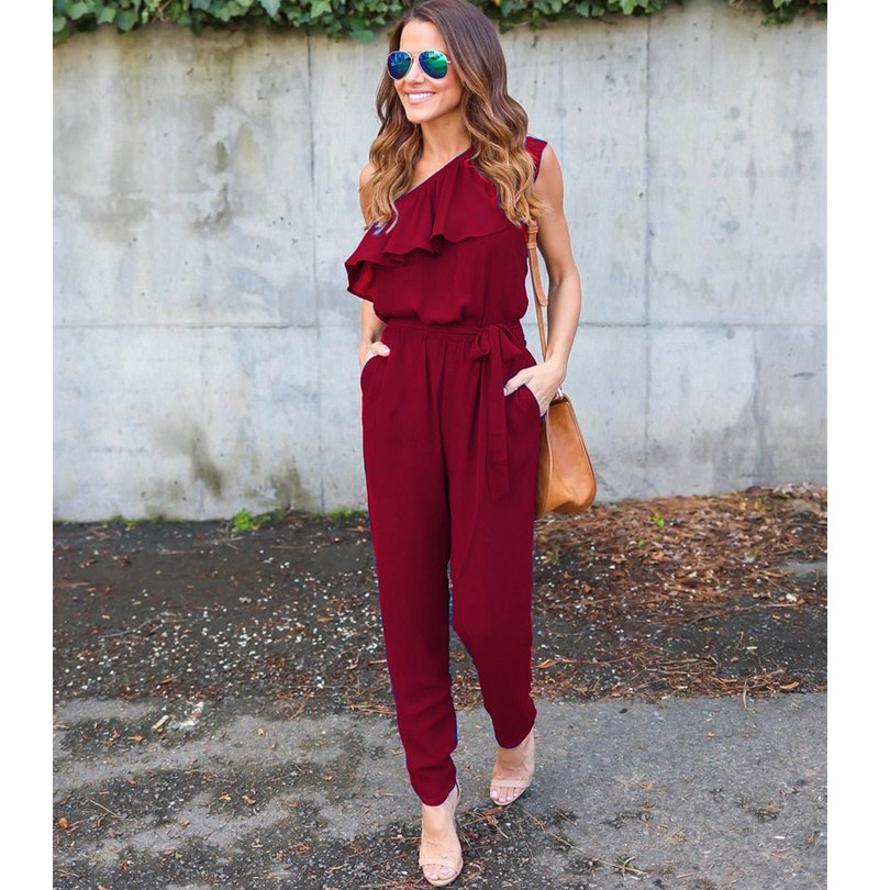 Ruffles Chiffon Jumpsuits Women Plus Size Overalls Summer Sexy Casual One Shoulder Long Playsuits Rompers Womens Jumpsuit