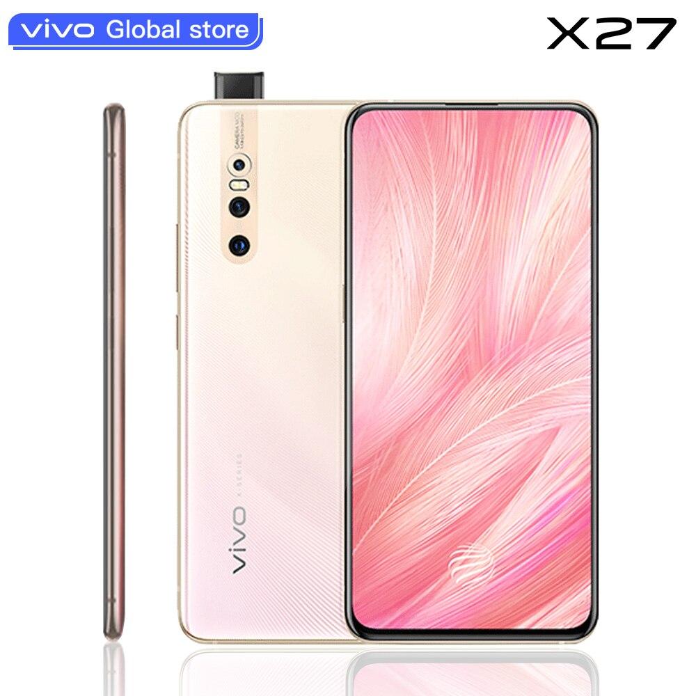 Original vivo X27 Telefone Móvel celular Android 9.0 Snapdragon Octa Núcleo 8 + 128 Fingerprint 48.0MP AI HiFi Elevando Câmera