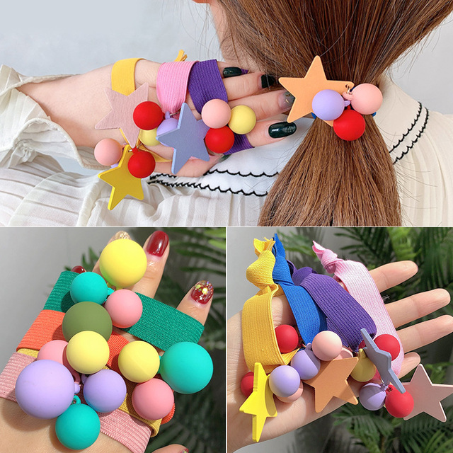 Oaoleer Hair Accessories Girls Candy Color Scrunchies Kids Star Ball Elastic Hairband Hair Ties Gum Rope Ladies Rubber band