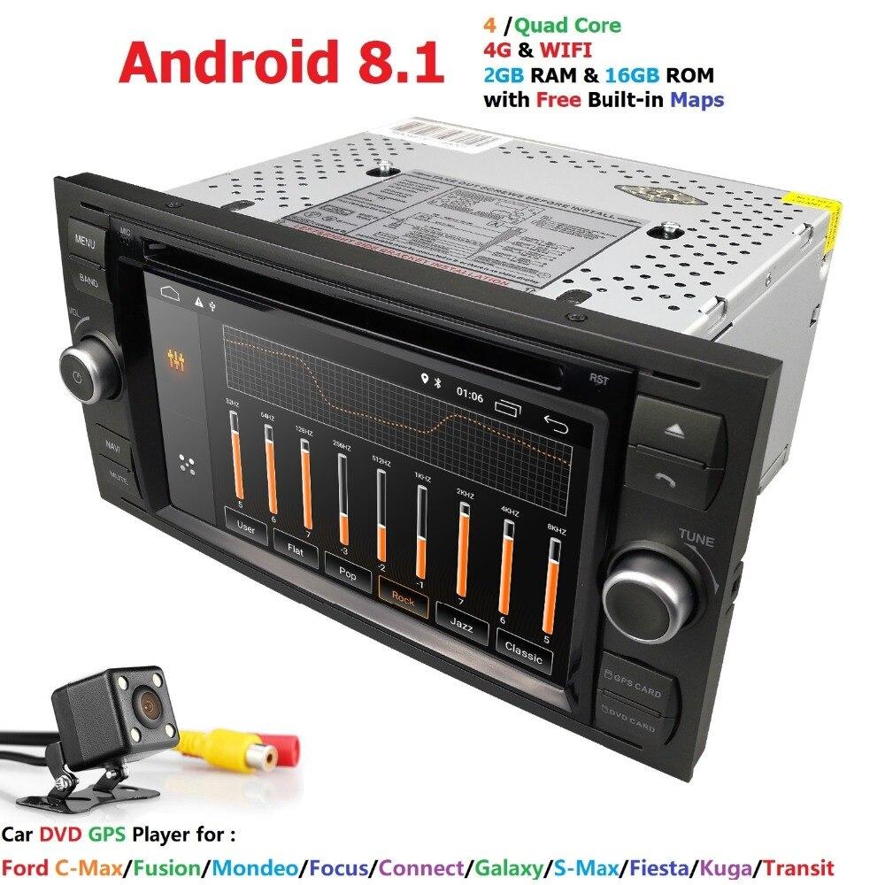 Android 8.1 4 Core 2 Din 2G RAM lecteur dvd De Voiture Pour Focus Fiesta Galaxy S Max C Max Fusion transit Kuga 4G WIFI CFC BT RDS DAB SD
