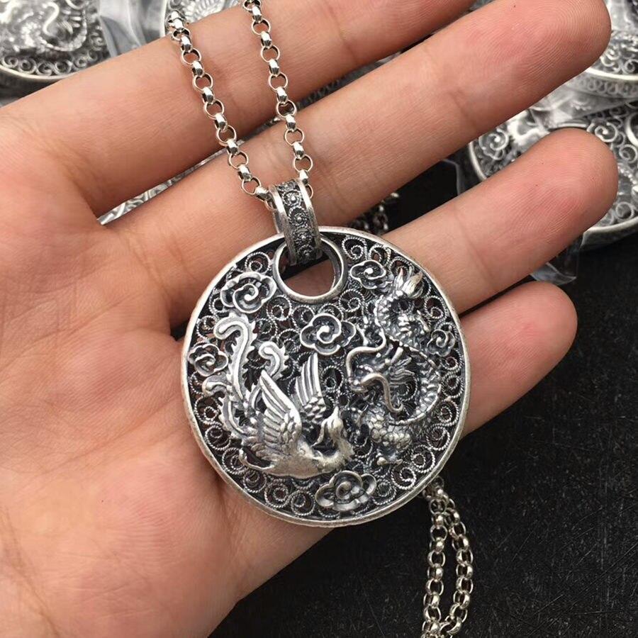 Pendentif médaille en argent massif fin 990 Dragon & Phoenix pour collier femmes Style chinois traditionnel Cool bijoux en argent Sterling 990