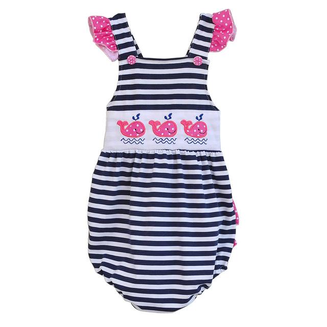 2017 nova moda verão bebê recém-nascido de uma peça clothing bordado baleia criança meninas macacão crianças bobes r002