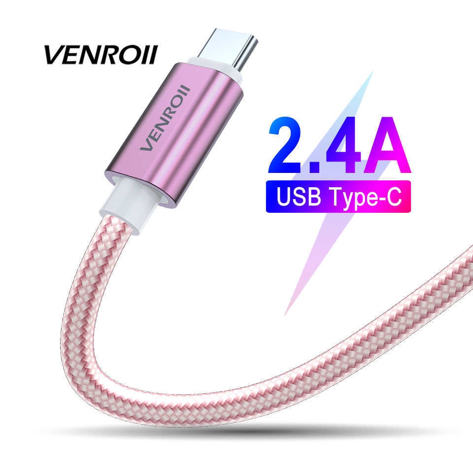2.4A USB C Cable for Oneplus 6 6t Xiaomi Mi Mix 3 Huawei P20 Lite USB Type C Fast Charging Data Kable for Samsung S9 USB C Cord
