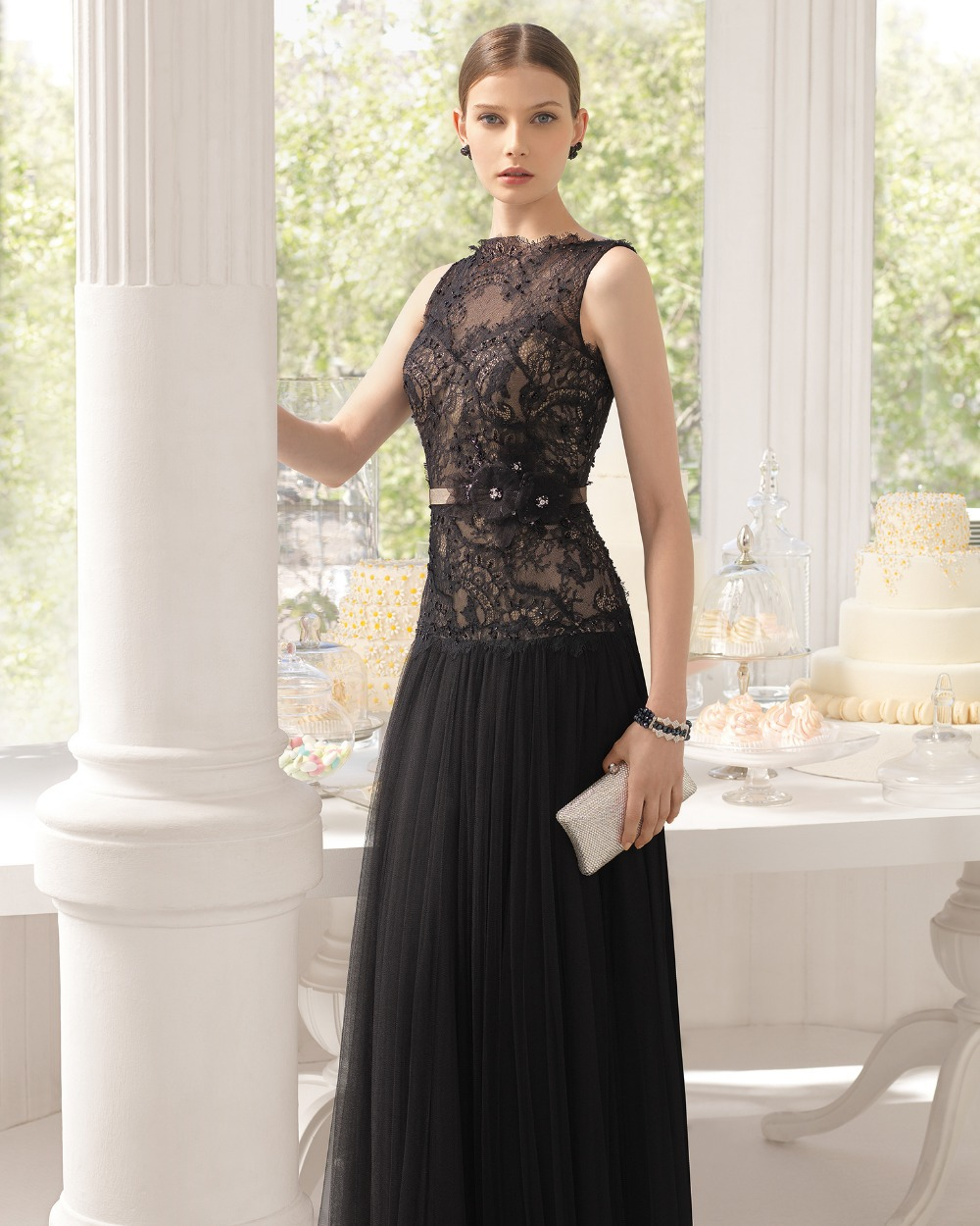 Elegant Black A Line Patterns of Lace Formal Sleeveless Long Party Beaded Sheer Top Evening Gown mother of the bride dresses in Mother of the Bride Dresses from Weddings Events